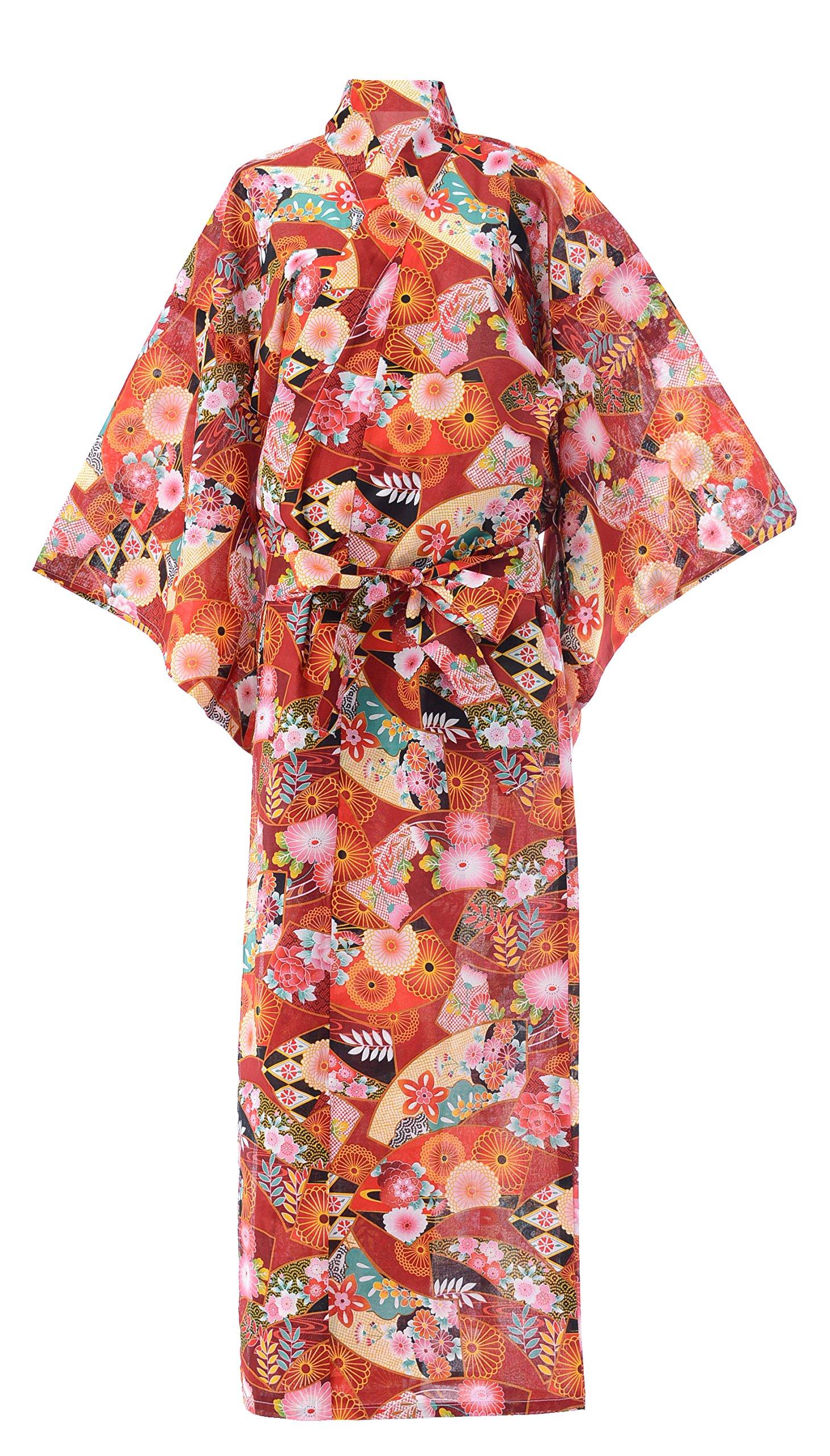 Kimura Jitsugyo Kyoto Traditional Easy Wear Yukata Robe (Japanese Casual Kimono Pajama) Japanese Chrysanthemum Set 2 Large Woman