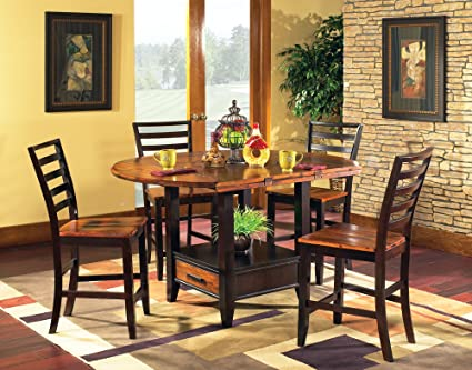 Addison Grace Home Decor Bali 5 Piece Oval Counter Height Set