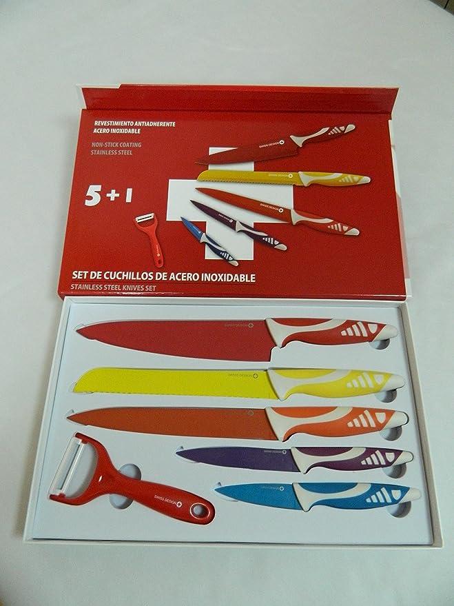 Compra Swiss Design ST-05KP Set Juego de 5 cuchillos de acero inoxidable y pelador, revestimiento ceramico, antiadherentes en Amazon.es