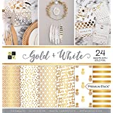"""DCWV Card Stock 12""""X12"""" Gold and White Premium Printed Cardstock Stack, Multi-Color"""