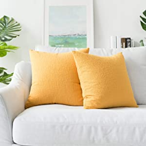 Kevin Textile Decor Soft Solid Velvet Toss Throw Pillow Cover Fashion Striped Decorative Pillow Case Handmade Cushion Cover for Couch, 20x20 inches, 2 Pieces, Primrose Yellow
