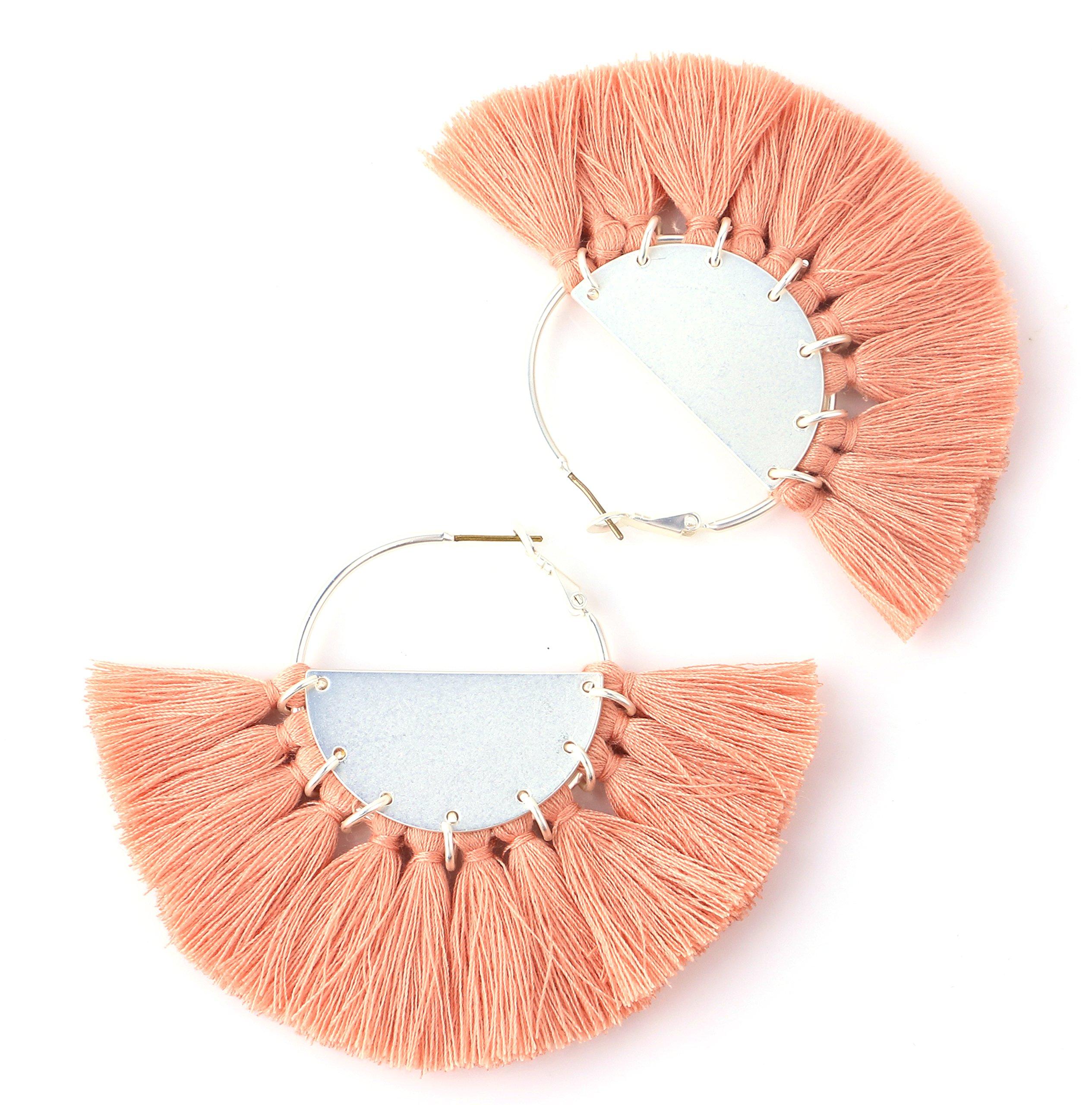 Badu Tassel Earrings Silver Hoop Round Jewelry Summer Beach Pink Tassels Jewelry Holiday (Coral Pink)