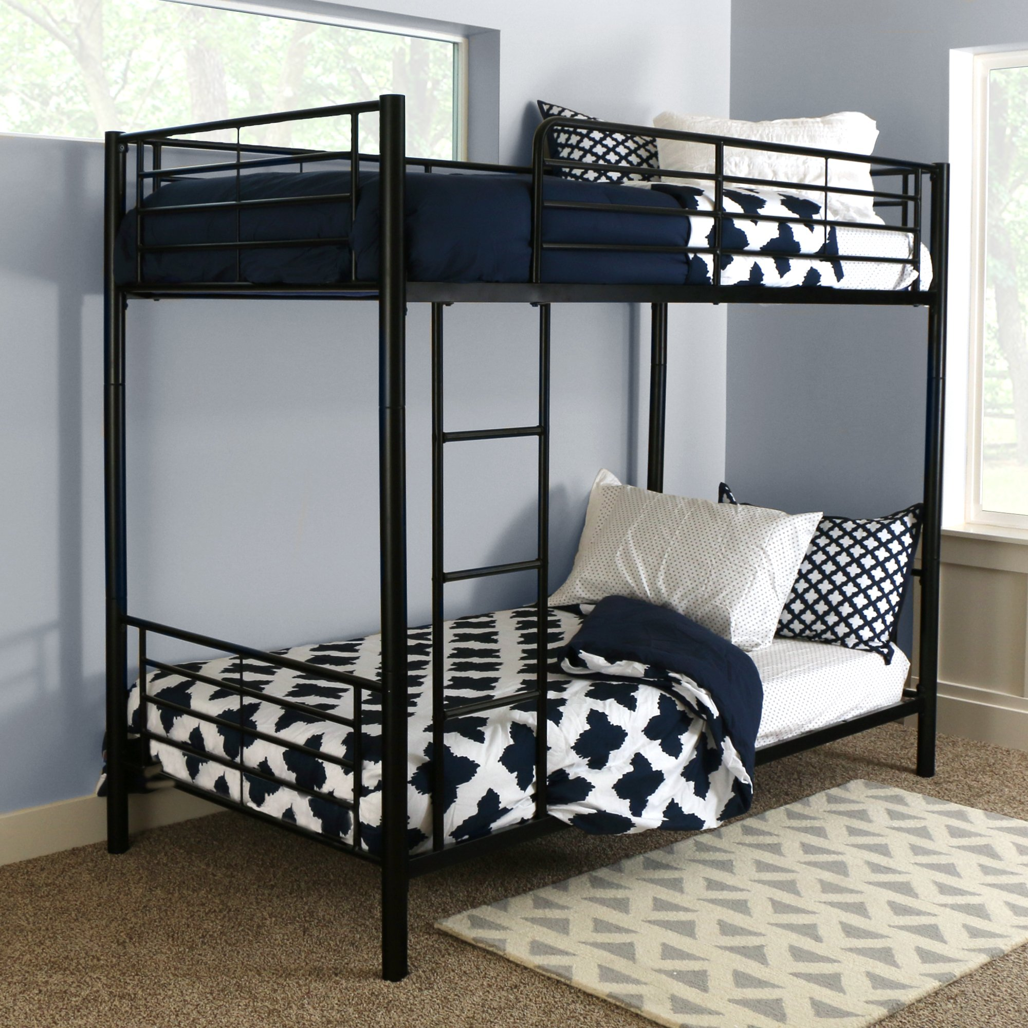 Sturdy Metal Twin-over-Twin Bunk Bed in Black Finish by Home Accent Furnishings (Image #5)