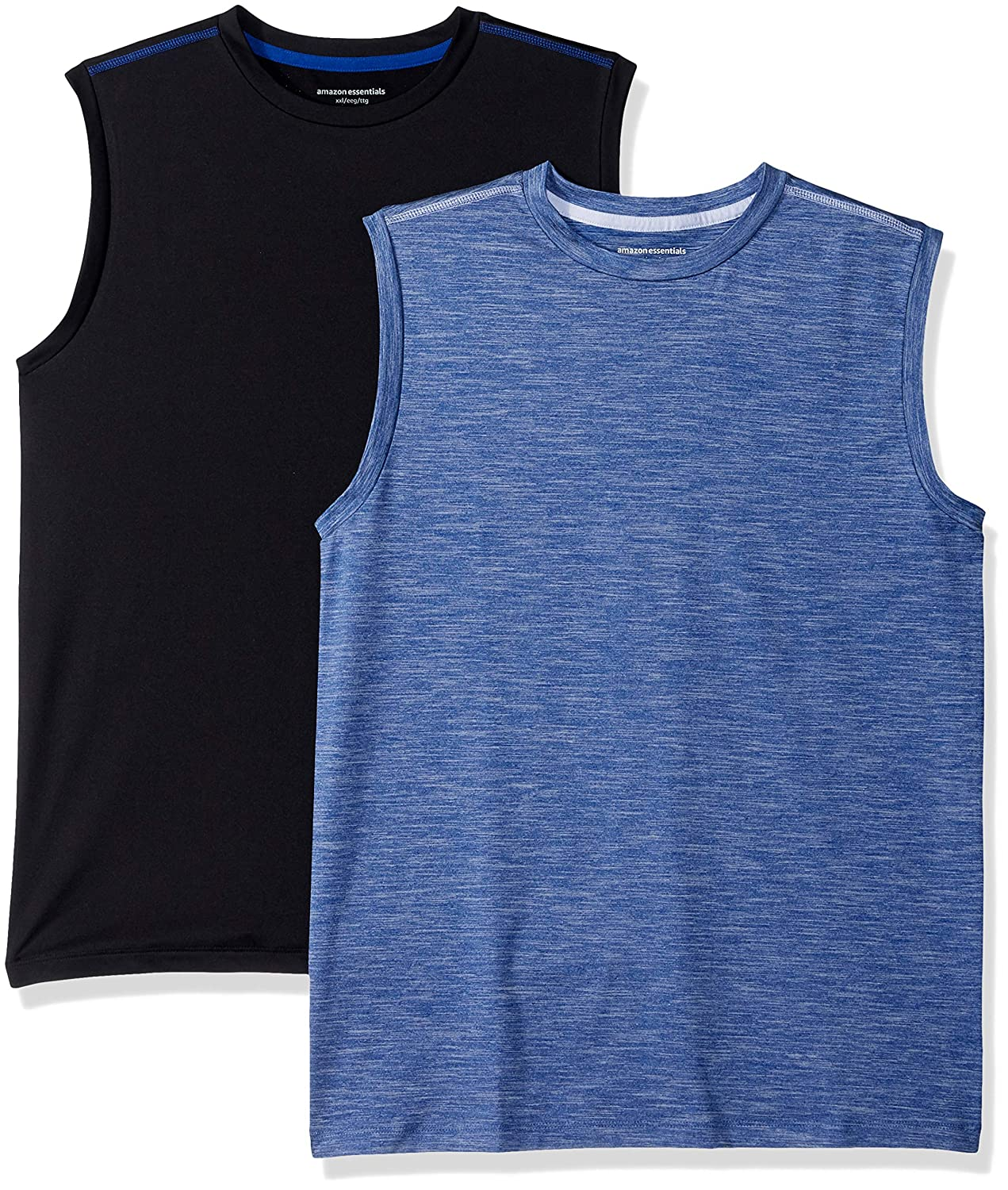 Amazon Essentials Boys' 2-Pack Active Muscle Tank Bright Blue/Black XX-Large BAE45099FL18