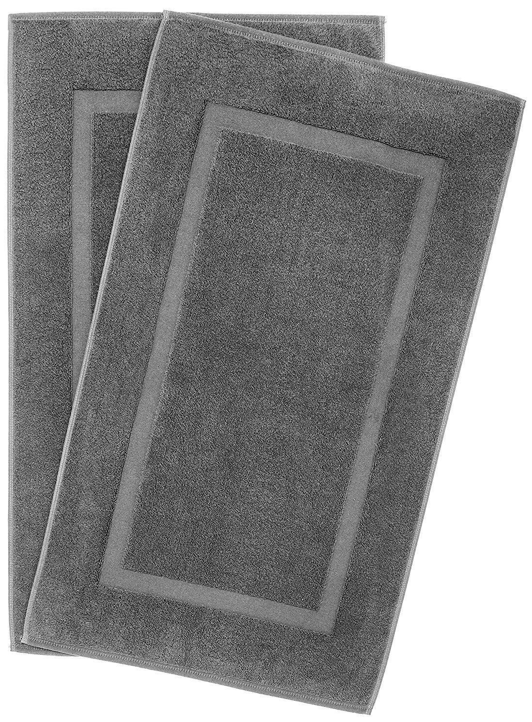 900 GSM Machine Washable 20x34 Inches 2-Pack Banded Bath Mats, Luxury Hotel and Spa Quality, 100% Ring Spun Genuine Cotton, Maximum Softness and Absorbency by United Home Textile, Charcoal Grey by Cotton Paradise