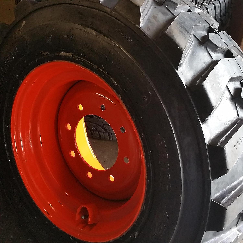 NHS SKS 400-12x16.5 4 SET OF FOUR 12-16.5 SKID STEER LOADER TIRE S with ORANGE Color Rims mounted 14 PLY