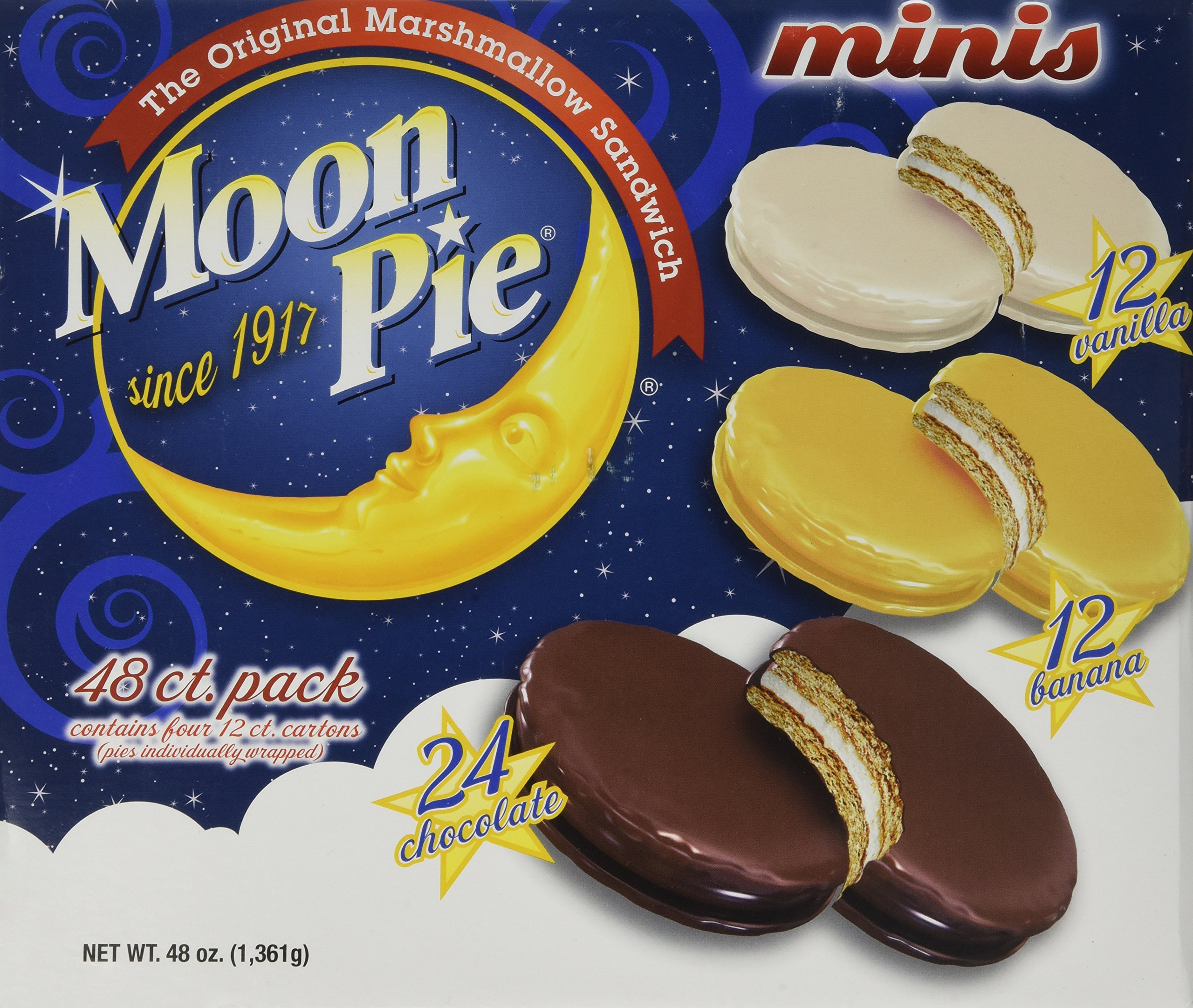 Moon Pie Mini Variety Pack, 48 count box - 48 Ounces by MoonPie