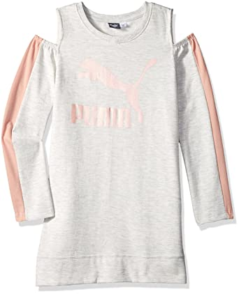 a34fd25d6613 Amazon.com  PUMA Big Girls  Fleece Cold Shoulder Dress  Clothing