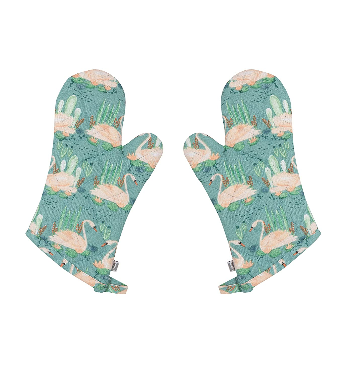Now Designs 2117011aa Classic Oven Mitt, Set of Two, Swan Lake Print,