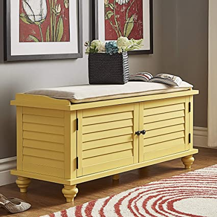 Brilliant Amazon Com Yellow Entryway Storage Bench Comfortable Foam Short Links Chair Design For Home Short Linksinfo