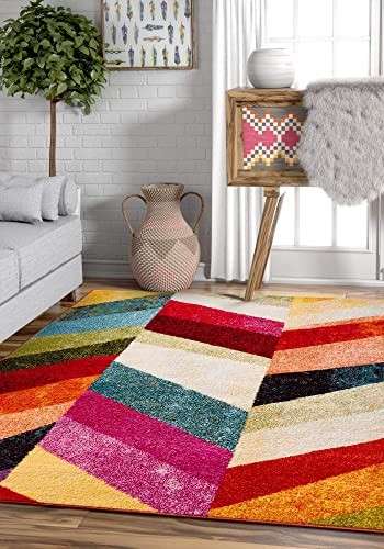 Well Woven Imagine Chevron Modern Geometric Blocks Pattern 8×11 7'10'' x 10'6″ Area Rug Soft Shed Free Easy to Clean Stain Resistant