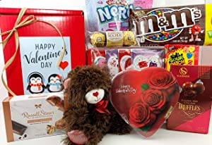 VALENTINE'S DAY GIFT BOX BASKET - HEART SHAPED CHOCOLATE BOX AND MUCH MORE - 9 ITEMS - FOR MEN, WOMEN, CHILDREN - PRIME- SEND LOVE TO YOUR VALENTINE SWEETHEART