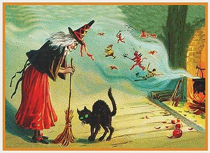 Caldero de Bruja Halloween Cross Stitch Kit Para Principiantes patrón tarjeta Idea de Regalo