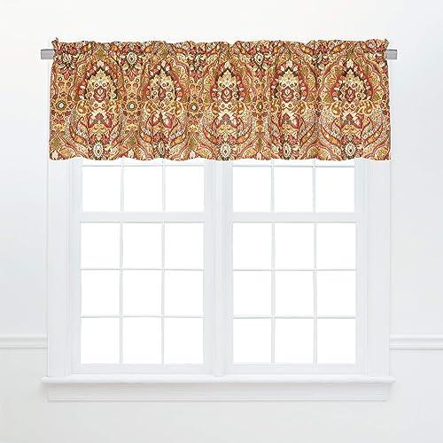 C F Home Mirabelle Valance Set of 2 Boho Mandala Cotton Curtains for Window Living Dinning Room Bedroom Bathroom Kitchen Valance Set of 2 Orange