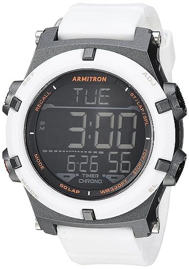 9ea44b092 Amazon.com: Armitron Sport Men's 40/8438WHT Digital Chronograph White Resin  Strap Watch: Watches