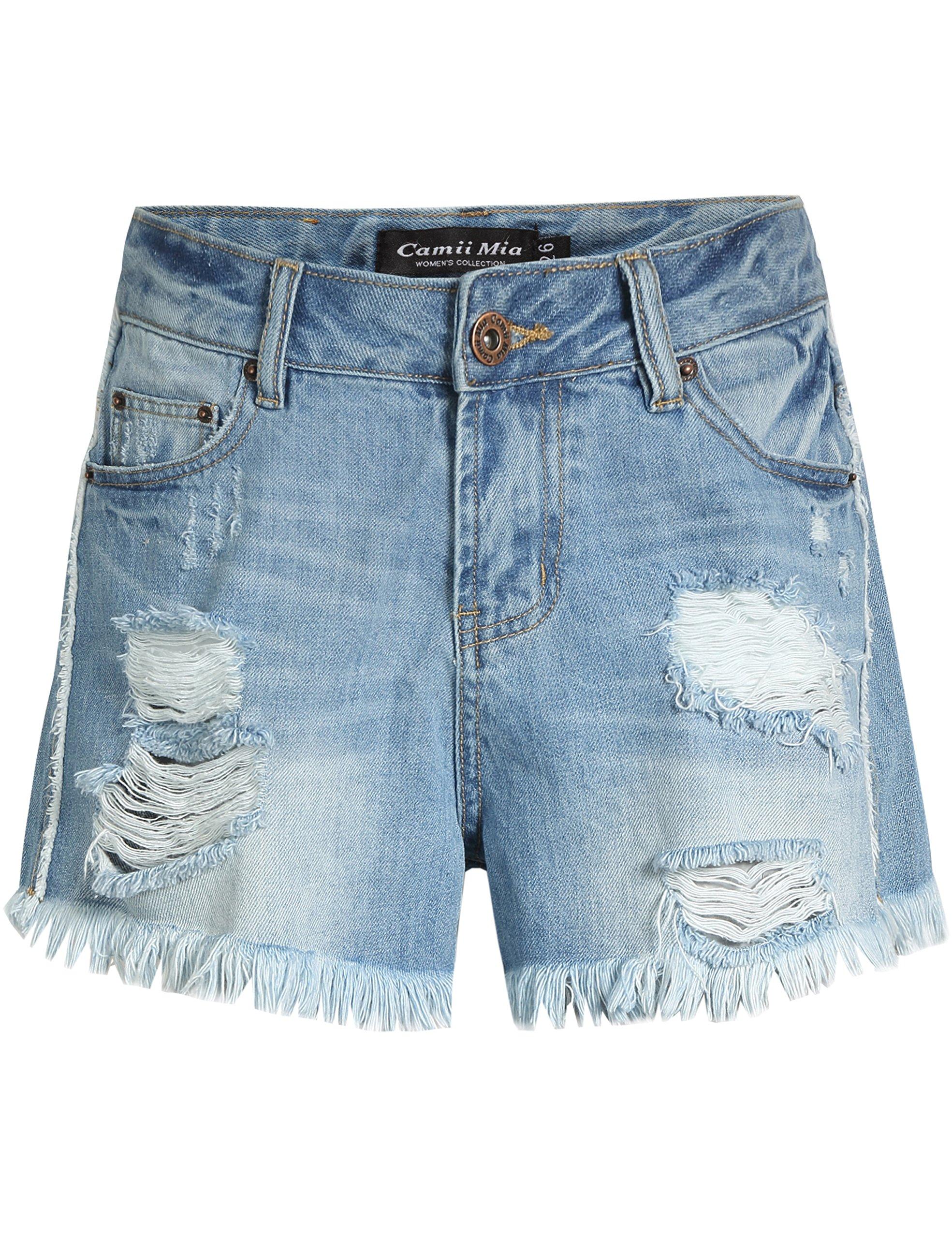 Camii Mia Women's Distressed Mid Rise Denim Shorts (32, Light Blue)