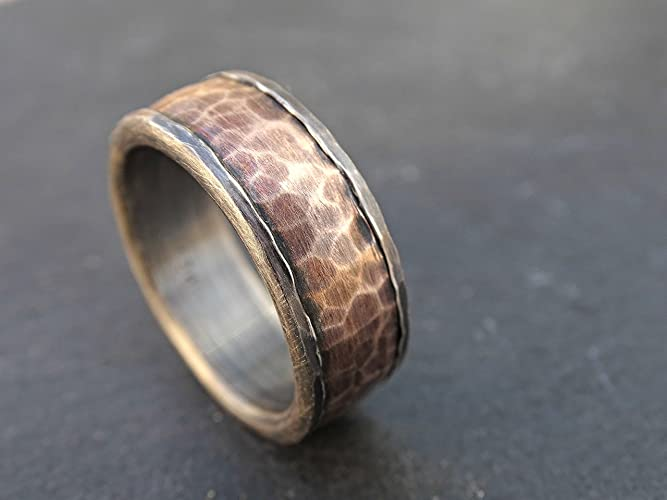 forged silver bronze ring cool mens ring mens wedding band personalized mens ring - Steampunk Wedding Rings