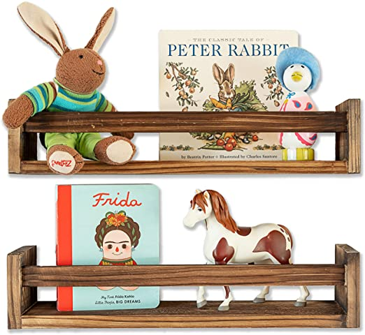MAINEVENT Set of 2 Rustic Wood Floating Nursery Shelves Wall Shelves for Farmhouse Bathroom Decor or Book Shelf Organizer for Baby Nursery Decor Kitchen Spice Rack