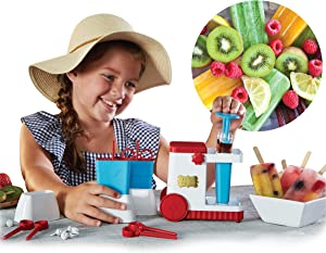 FAO Schwarz Popsicle Maker Station Kit with 3 Popsicle Bar Molds and Stands, Spacers, Stoppers, and Syringes for Creating Filled Liquid Center Popsicles in The Freezer