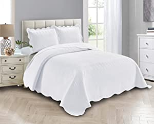 Linen Plus Luxury Oversized Coverlet Embossed Bedspread Set Solid White Bed Cover New # Ashley