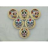 Set of 6 Sugar Skull Starburst Oversized Cabinet Knobs (Yellow)