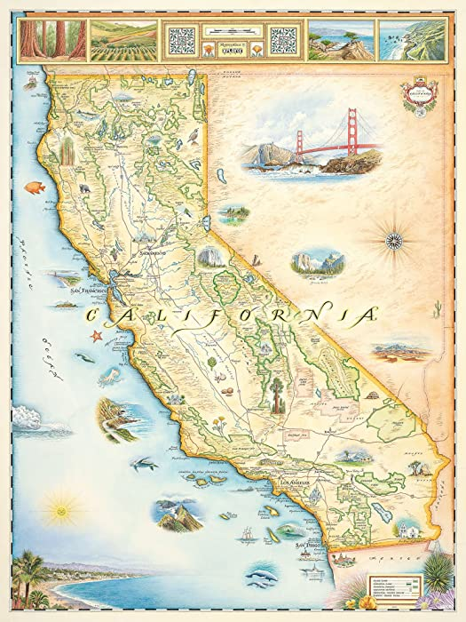 California Map Wall Art Poster - Authentic Hand Drawn Maps in Old World, Antique Style - Art Deco for Home Office Decor