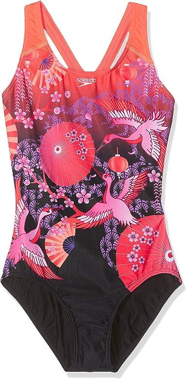 Speedo Girls Crane Blossom Placement Splashback Swimsuit