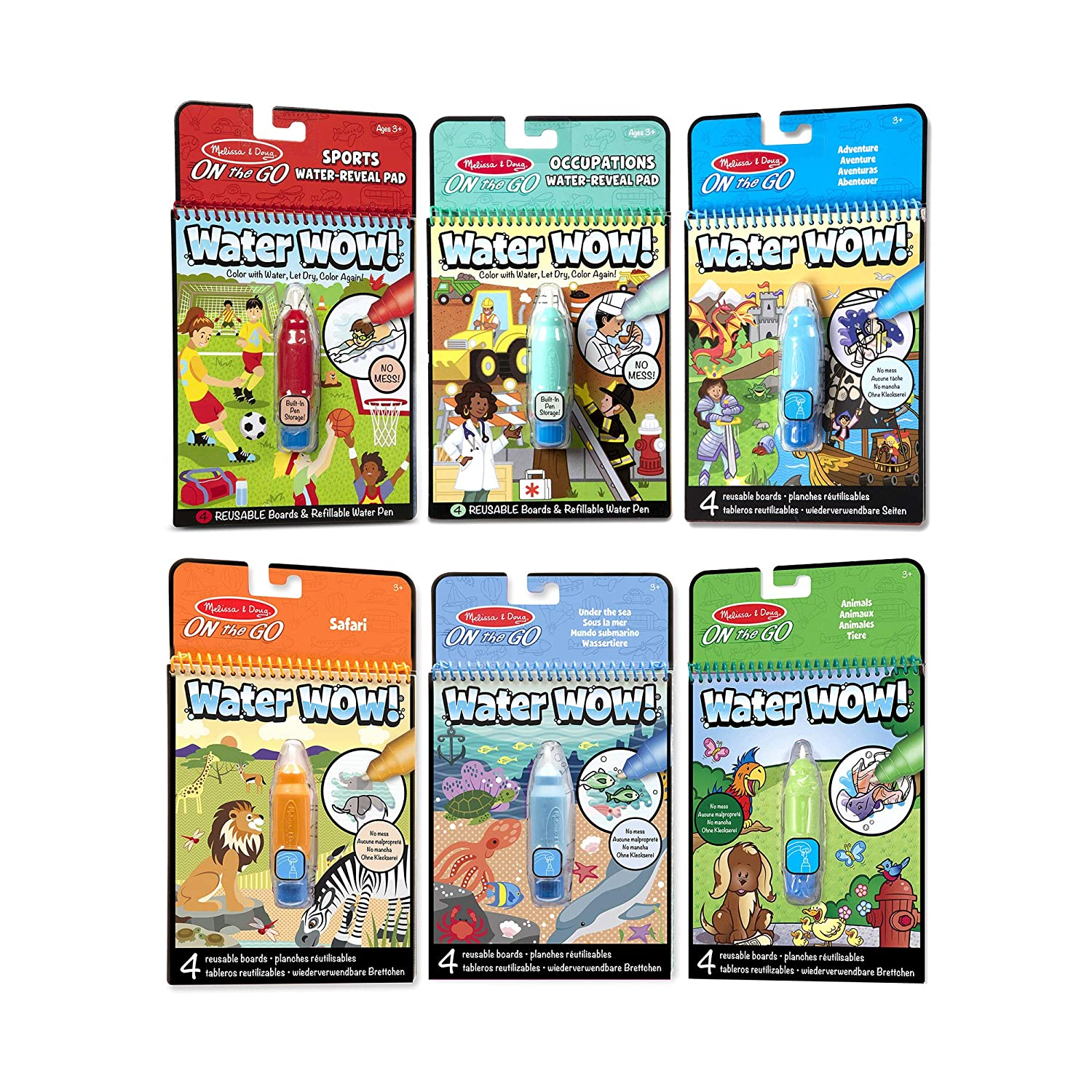 Chunky-Size Water Pens Occupations Adventure Animals Reusable Color with Water Activity Pad 6-Pack Sports Under The Sea Melissa /& Doug On The Go Water Wow Safari