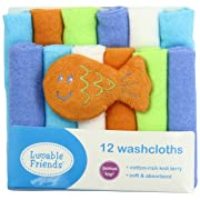 Luvable Friends 12 Washcloths with Bonus Toy, Green with Fish