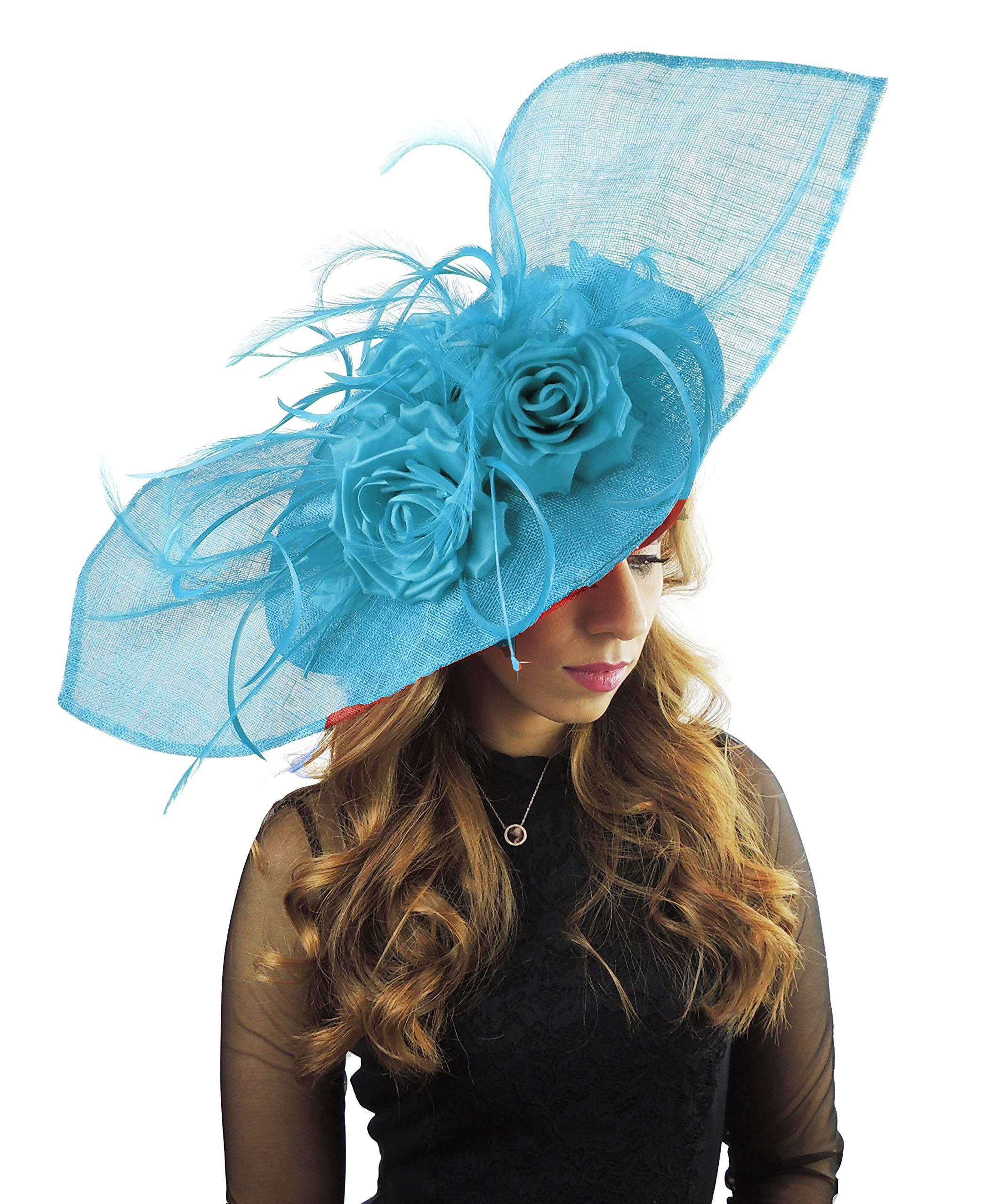 26 Inch Medium Elisaveta Sinamay Ascot Kentucky Derby Fascinator Hat with Headband - Turquoise Dark