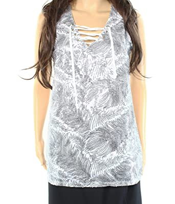 INC  69 Womens New 1192 White Sequined Tie V Neck Sleeveless Casual Top S B+