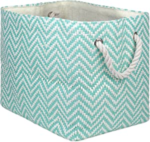 "DII Oversize Woven Paper Storage Basket or Bin, Collapsible & Convenient Home Organization Solution for Office, Bedroom, Closet, Toys, & Laundry (Large - 17x12x12""), Aqua Chevron"