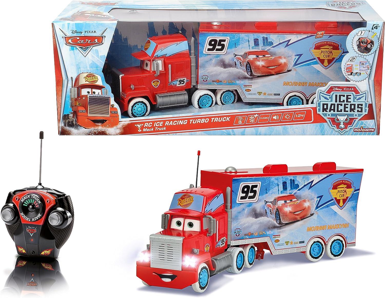 Disney Cars - Camión RC Ice Racing Mack, teledirigido, Color Rojo y Azul (Mattel 3089593)