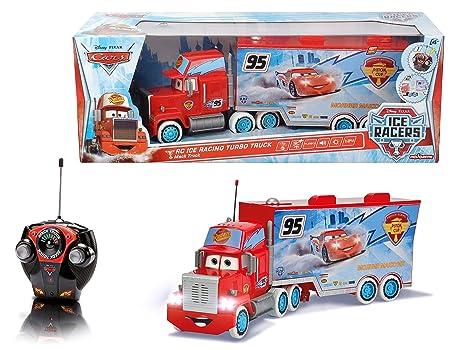 Cars - Camión RC Ice Racing Mack, teledirigido, Color Rojo y Azul (Mattel