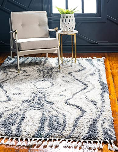 Unique Loom Hygge Shag Collection Abstract Plush Cozy Gray Area Rug 5 0 x 8 0