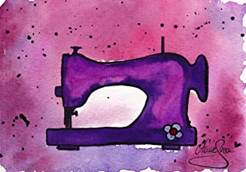 Nähen Postkarten 2 Stück A6 lila Aquarell Druck Nähmaschine AnneSvea Sewing Handmade Deko