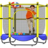 """Asee'm 60"""" Trampoline for Kids 5 FT Indoor & Outdoor Small Trampolines with Basketball Hoop for Kids Toddler Baby with Net Sa"""