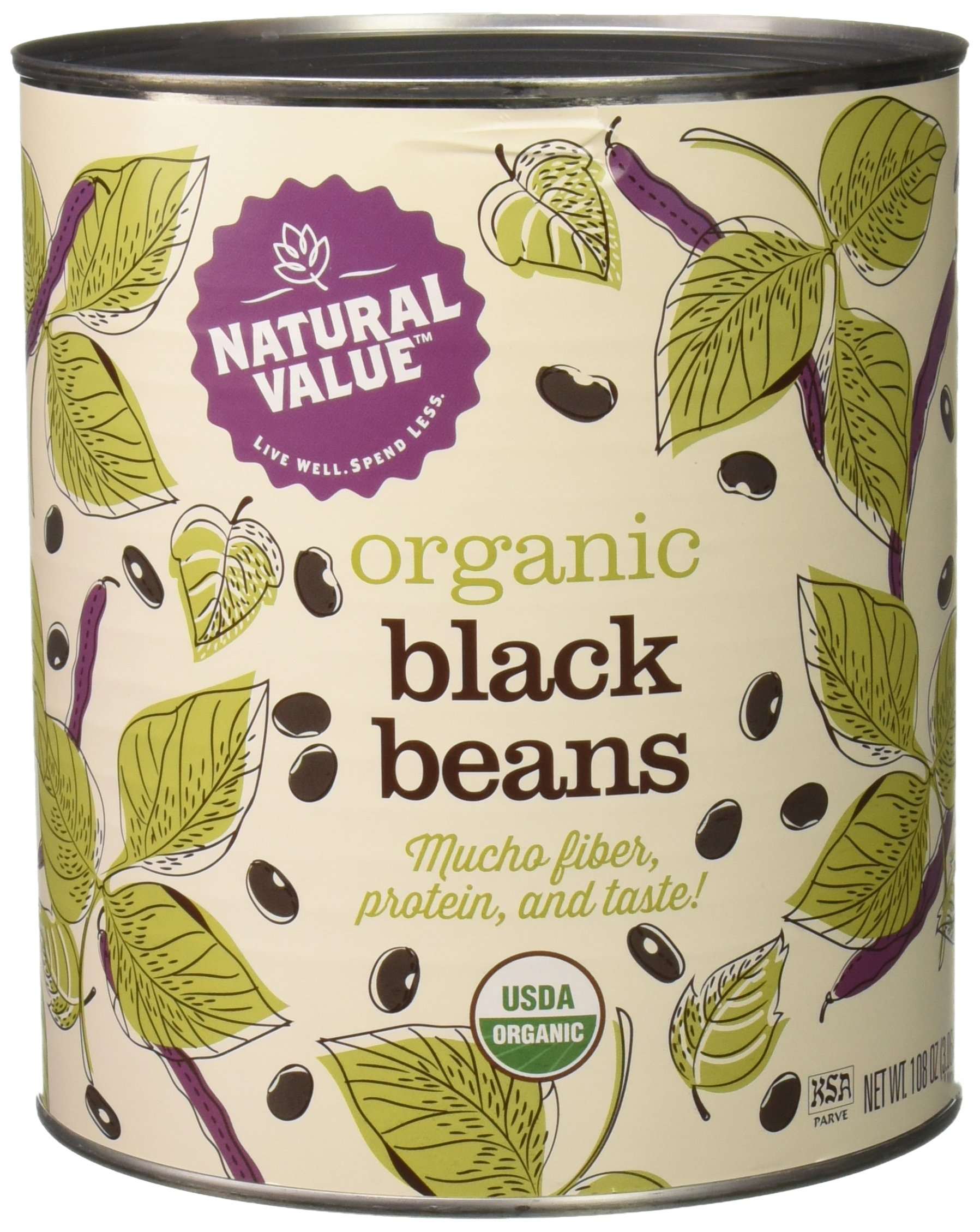 Natural Value 100% Organic Black Beans, 110 Ounce by Natural Value (Image #1)