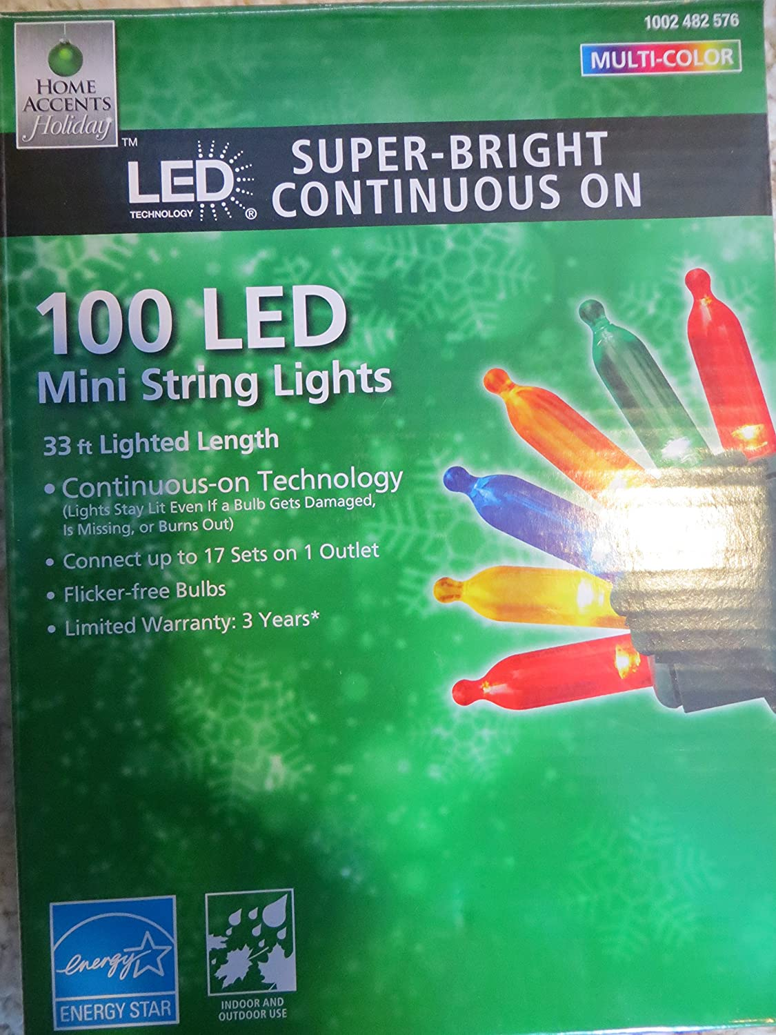 Home Accents 100 LED Multicolor Super Bright Continuous ON Mini Lights
