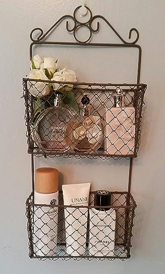 Rustic 2 Tier Wire Wall Storage Baskets Letter Rack Indoor/Garden ...