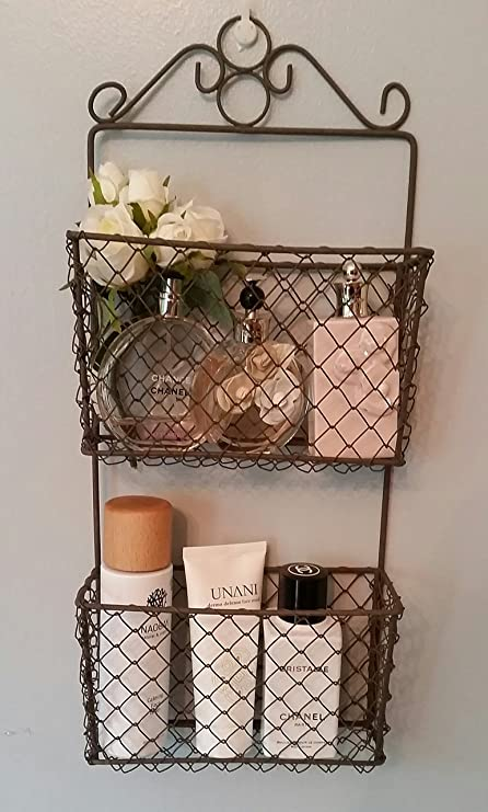 Rustic 2 Tier Wire Wall Storage Baskets Letter Rack Indoor/Garden Planter