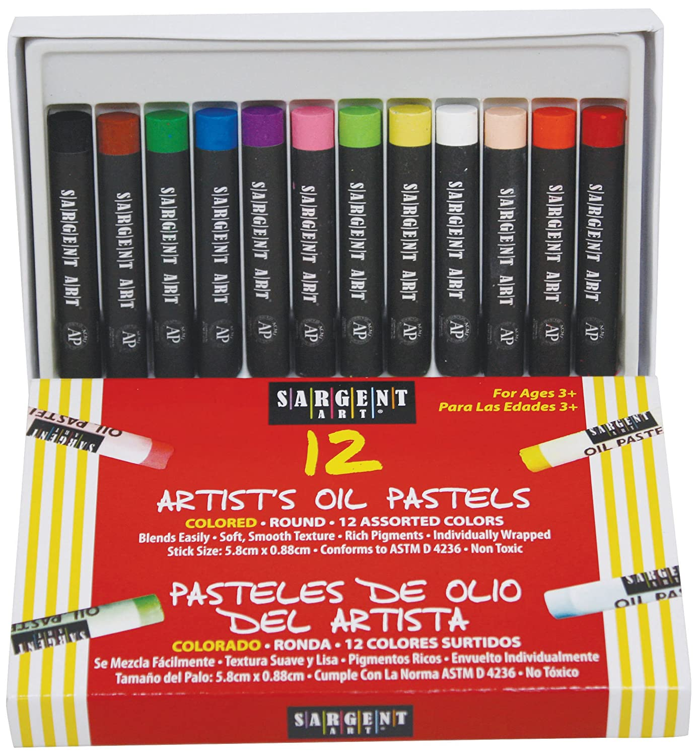 Sargent Art 22-2017 12 Count Oil Pastels, Assorted