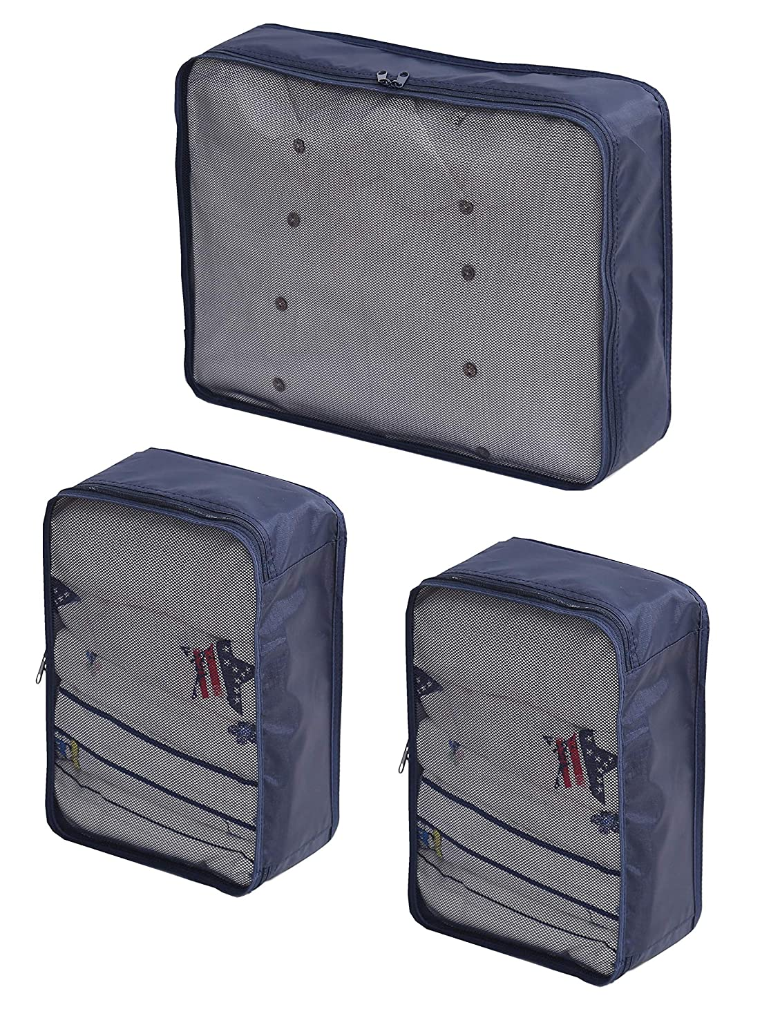 Medium*2 Packing Bags Combination Packing Cubes 3set-TZbonjourney Packing Organizers Large*1 Blue