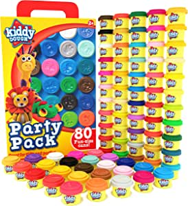 Kiddy Dough 80 Pack of Dough - School & Birthday Party Favors Bulk Clay Classpack - Includes Molded Animal Shaped Lids - Holiday Christmas Gift Edition – (1oz Dough Tubs - 80oz Total) Gift for Kids