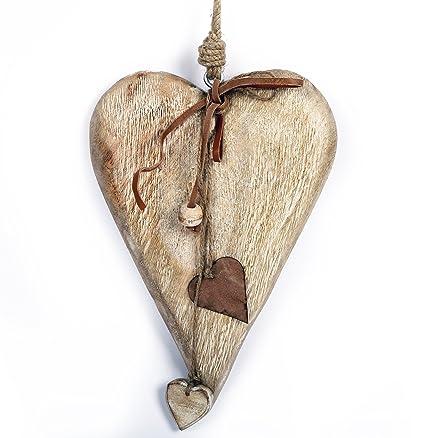 Large Chunky 22cm Wooden Hanging Heart Decoration Amazoncouk