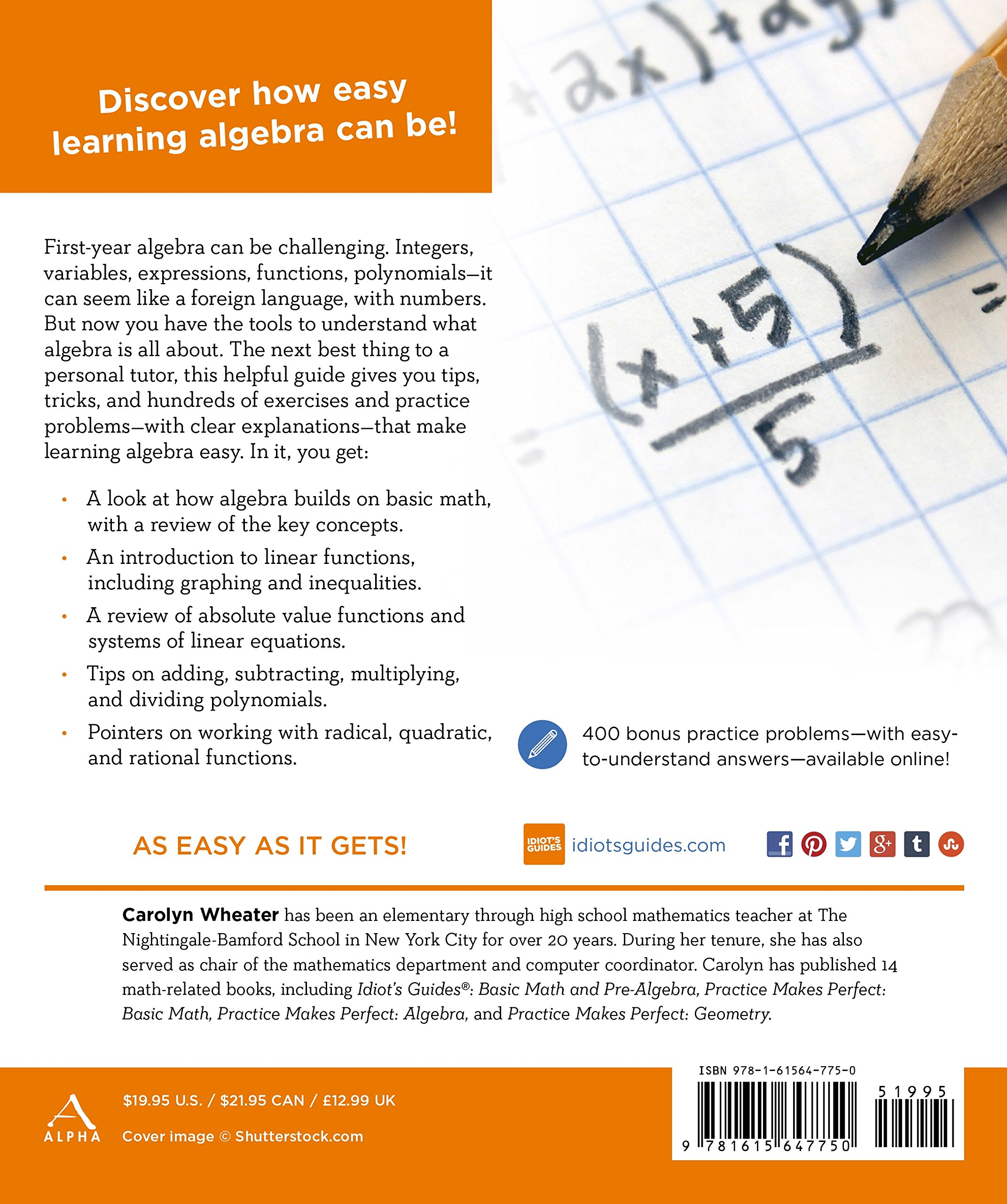 Algebra I (Idiot's Guides): Carolyn Wheater: 9781615647750: Amazon.com:  Books