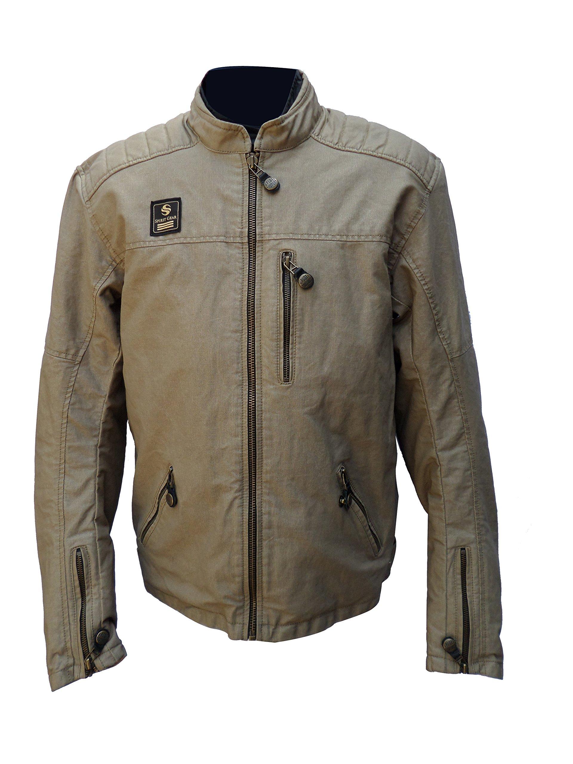 Men's Garry Sand Motorcycle Wax Cotton Armoured Jacket. GRAY