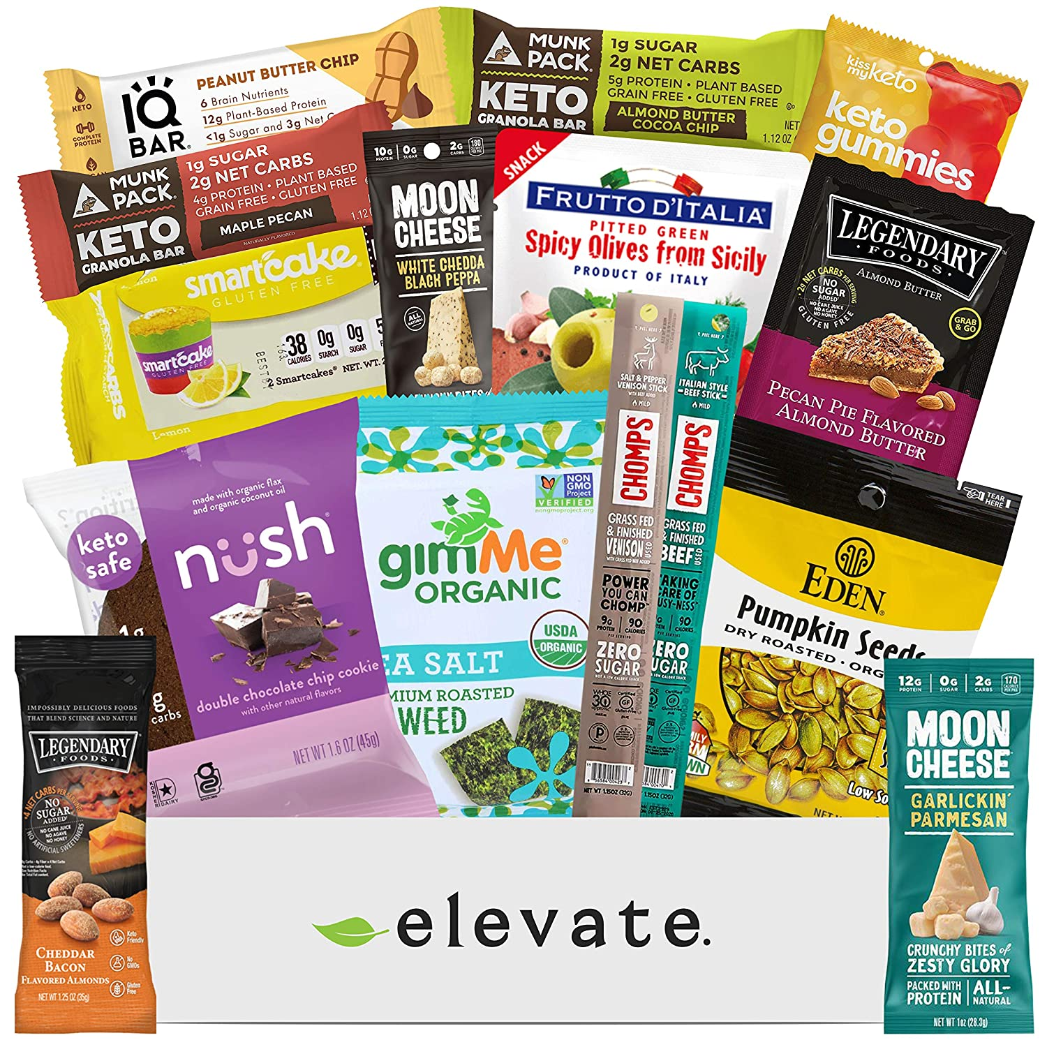 KETO Snack Box Care Package [15 Count] Mix Of Low Carb (5g or less), Low Sugar (2g or less), Gluten Free Snacks, A Gift Box Of High Fat, High Protein Keto Friendly Treats