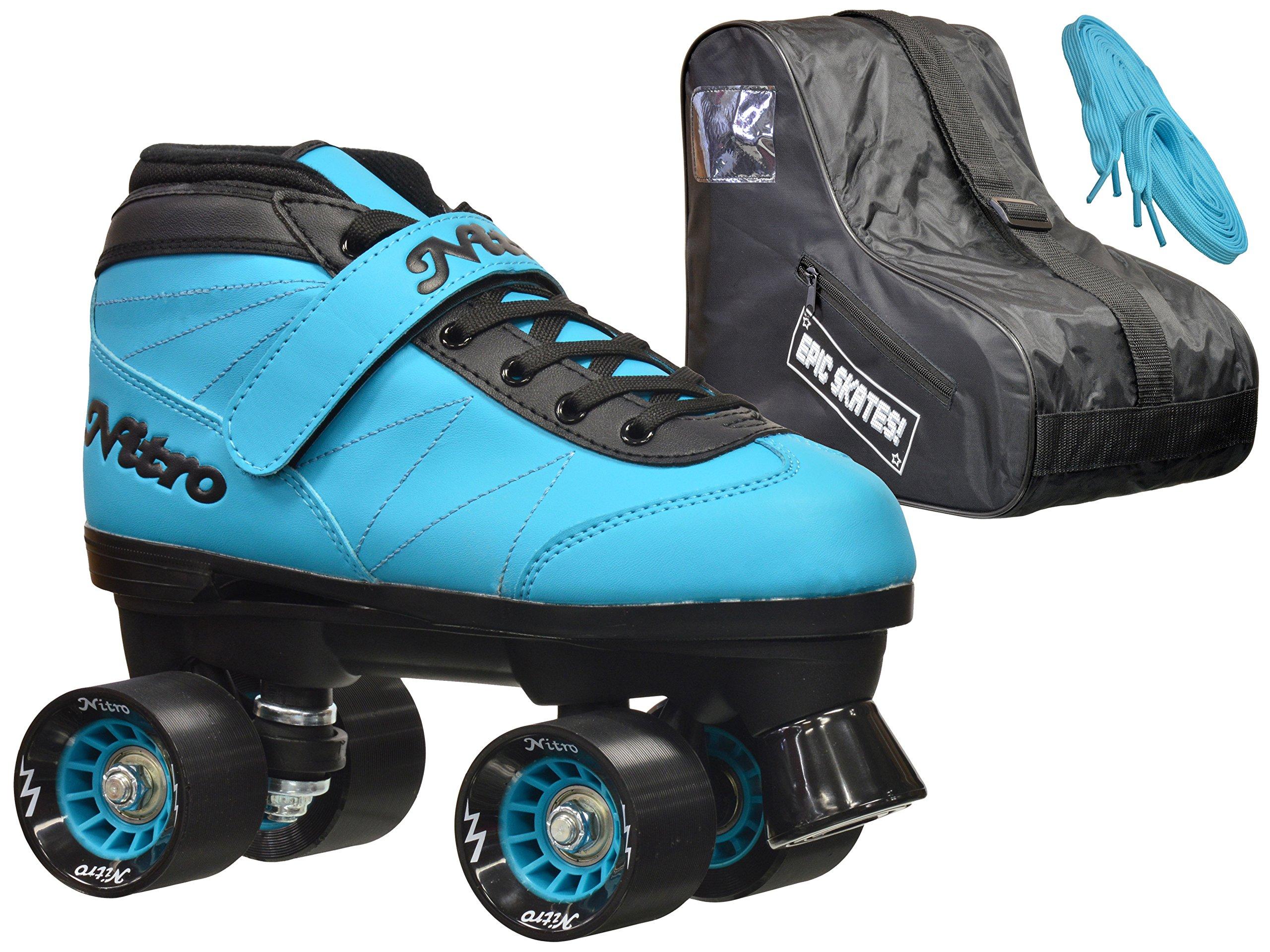 Epic Skates Epic Nitro Turbo Blue Quad Speed Roller Skates Package 8
