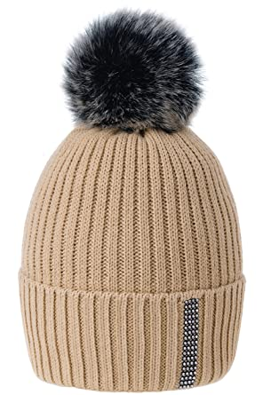 39b2fd0e687 Women Ladies Winter Beanie Hat Wool Knitted Small Crystals Large Pom Pom  Ski Snowboard Hats Cap MFAZ Morefaz Ltd (Beige)  Amazon.co.uk  Clothing
